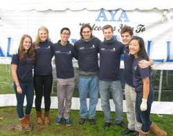 students help with waste management at AYA event