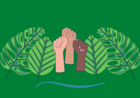illustration of fists in the air alongside leaves