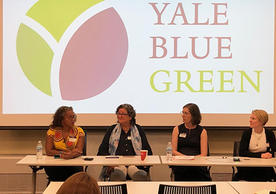 L to R: Panelists Weslynne Ashton '03 MESc, '08 PhD, Margot McMahon '84 MFA, Charlene Andreas, and Sam Vance